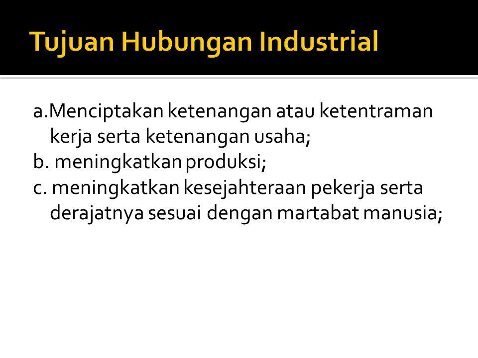 Tujuan Hubungan Industrial