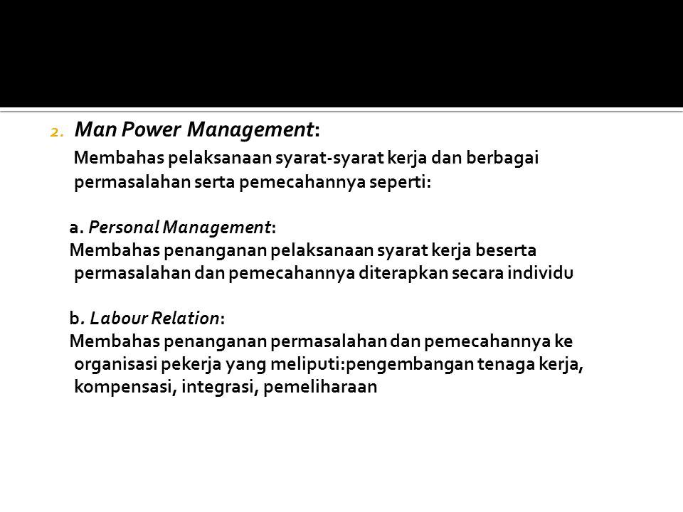Man Power Management: Membahas pelaksanaan syarat-syarat kerja dan berbagai permasalahan serta pemecahannya seperti: