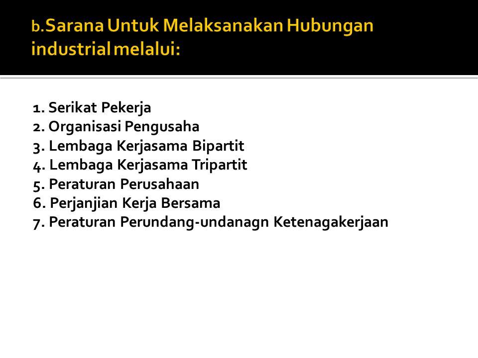 b.Sarana Untuk Melaksanakan Hubungan industrial melalui: