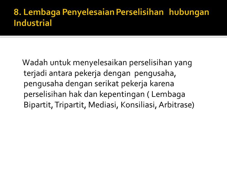8. Lembaga Penyelesaian Perselisihan hubungan Industrial