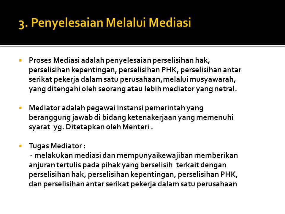 3. Penyelesaian Melalui Mediasi