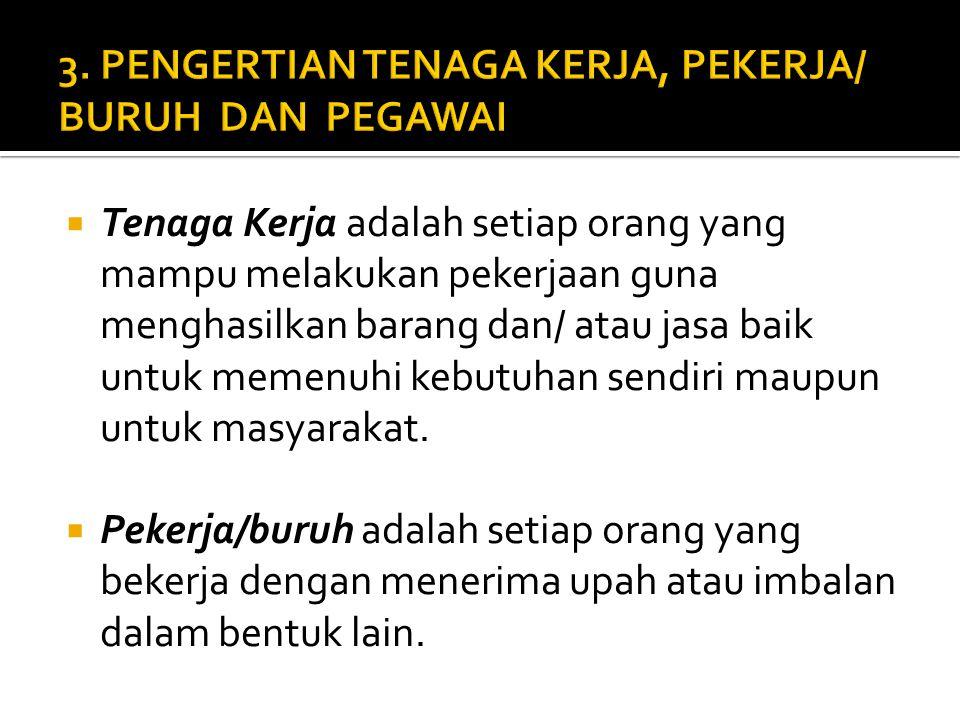3. PENGERTIAN TENAGA KERJA, PEKERJA/ BURUH DAN PEGAWAI
