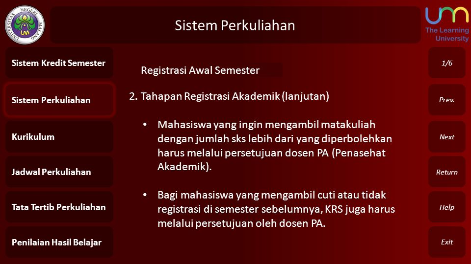 Sistem Perkuliahan Registrasi Awal Semester