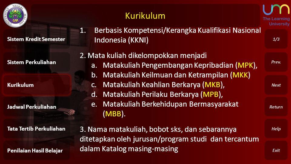Kurikulum Berbasis Kompetensi/Kerangka Kualifikasi Nasional Indonesia (KKNI) 2. Mata kuliah dikelompokkan menjadi.