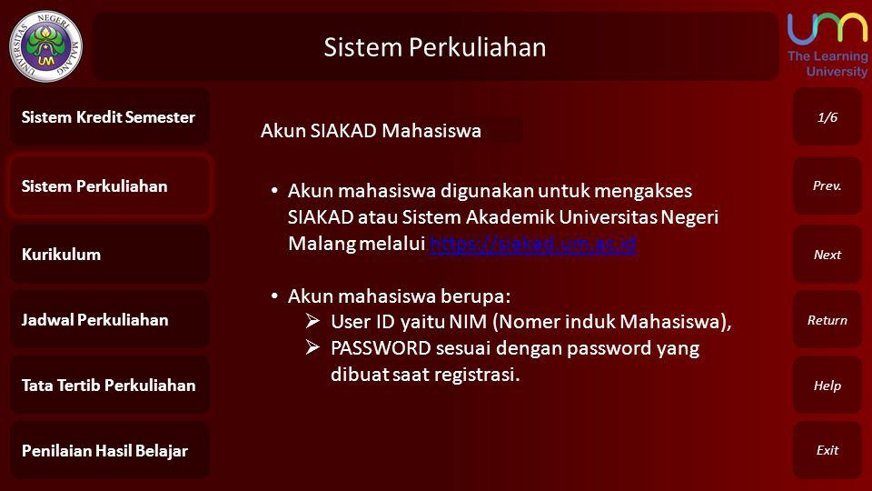 Sistem Perkuliahan Akun SIAKAD Mahasiswa