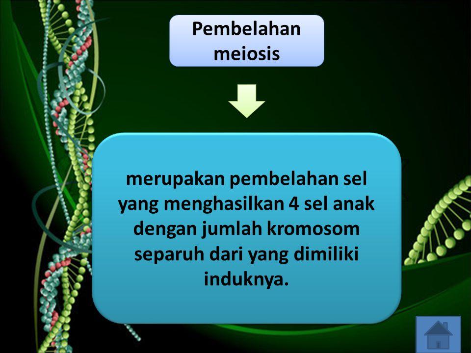 Pembelahan meiosis merupakan pembelahan sel yang menghasilkan 4 sel anak dengan jumlah kromosom separuh dari yang dimiliki induknya.
