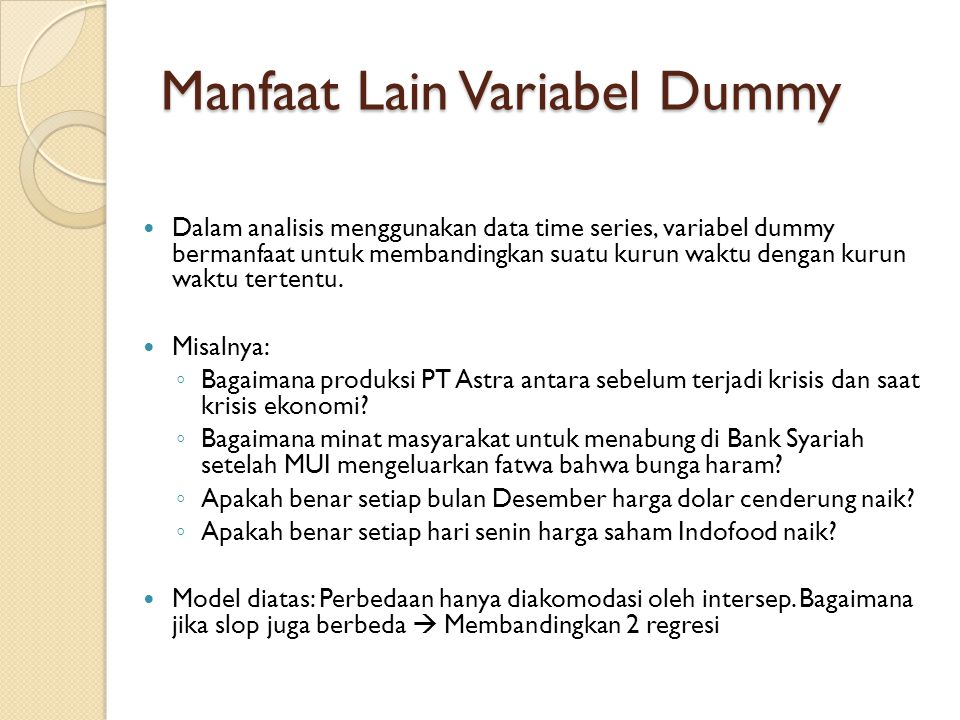 Manfaat Lain Variabel Dummy