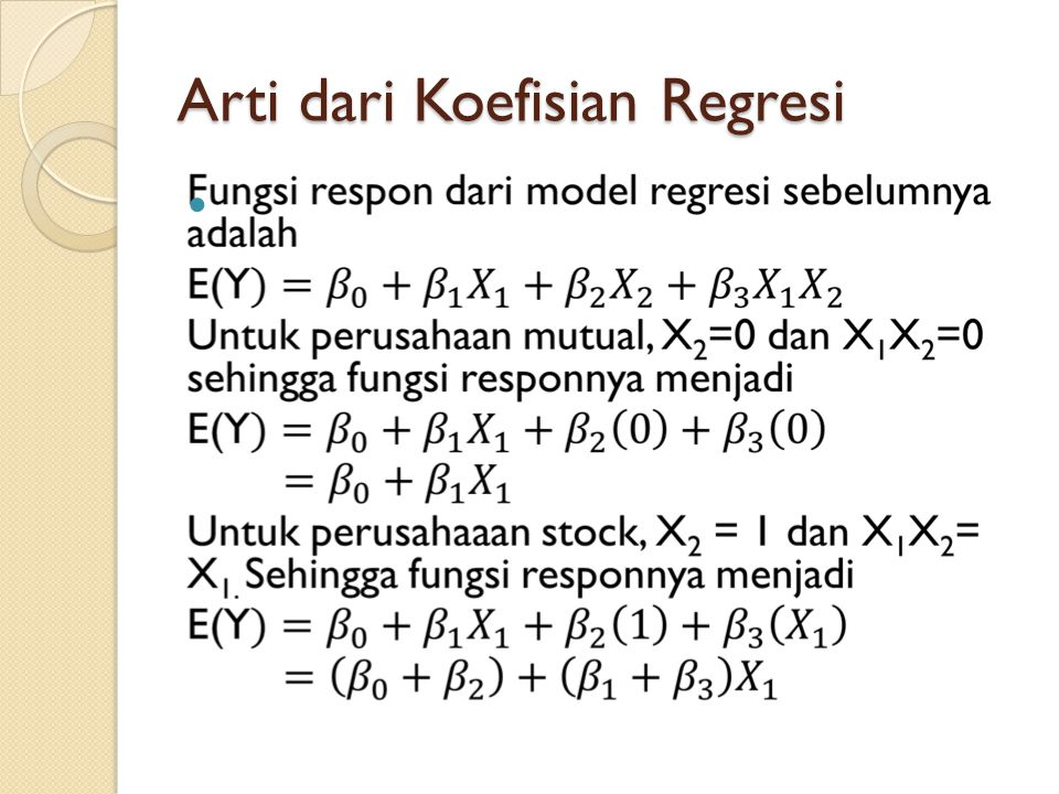 Arti dari Koefisian Regresi