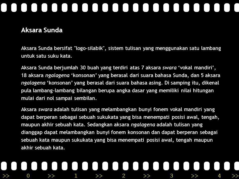 Aksara Sunda Aksara Sunda bersifat logo-silabik , sistem tulisan yang menggunakan satu lambang untuk satu suku kata.