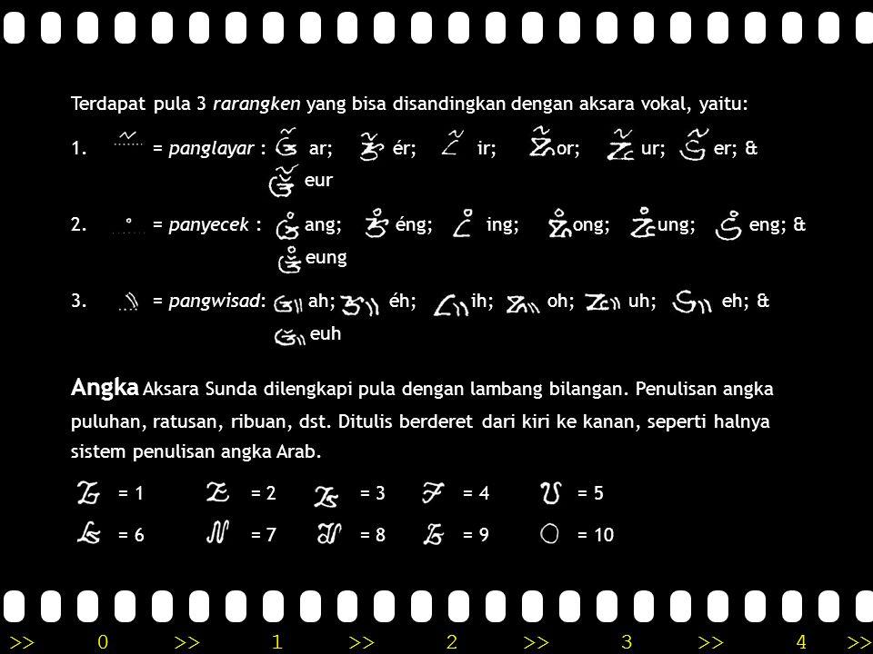 Terdapat pula 3 rarangken yang bisa disandingkan dengan aksara vokal, yaitu: