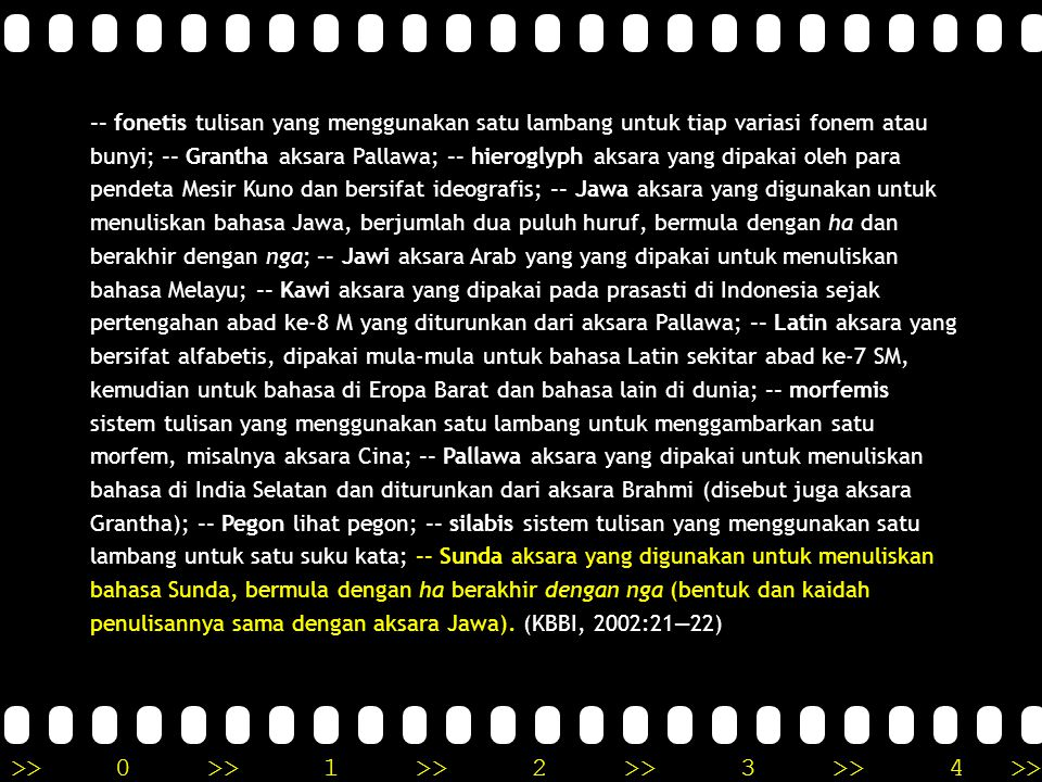 -- fonetis tulisan yang menggunakan satu lambang untuk tiap variasi fonem atau bunyi; -- Grantha aksara Pallawa; -- hieroglyph aksara yang dipakai oleh para pendeta Mesir Kuno dan bersifat ideografis; -- Jawa aksara yang digunakan untuk menuliskan bahasa Jawa, berjumlah dua puluh huruf, bermula dengan ha dan berakhir dengan nga; -- Jawi aksara Arab yang yang dipakai untuk menuliskan bahasa Melayu; -- Kawi aksara yang dipakai pada prasasti di Indonesia sejak pertengahan abad ke-8 M yang diturunkan dari aksara Pallawa; -- Latin aksara yang bersifat alfabetis, dipakai mula-mula untuk bahasa Latin sekitar abad ke-7 SM, kemudian untuk bahasa di Eropa Barat dan bahasa lain di dunia; -- morfemis sistem tulisan yang menggunakan satu lambang untuk menggambarkan satu morfem, misalnya aksara Cina; -- Pallawa aksara yang dipakai untuk menuliskan bahasa di India Selatan dan diturunkan dari aksara Brahmi (disebut juga aksara Grantha); -- Pegon lihat pegon; -- silabis sistem tulisan yang menggunakan satu lambang untuk satu suku kata; -- Sunda aksara yang digunakan untuk menuliskan bahasa Sunda, bermula dengan ha berakhir dengan nga (bentuk dan kaidah penulisannya sama dengan aksara Jawa).