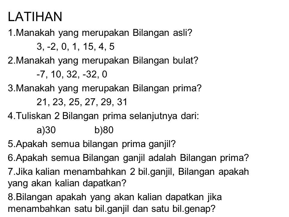 LATIHAN Manakah yang merupakan Bilangan asli 3, -2, 0, 1, 15, 4, 5