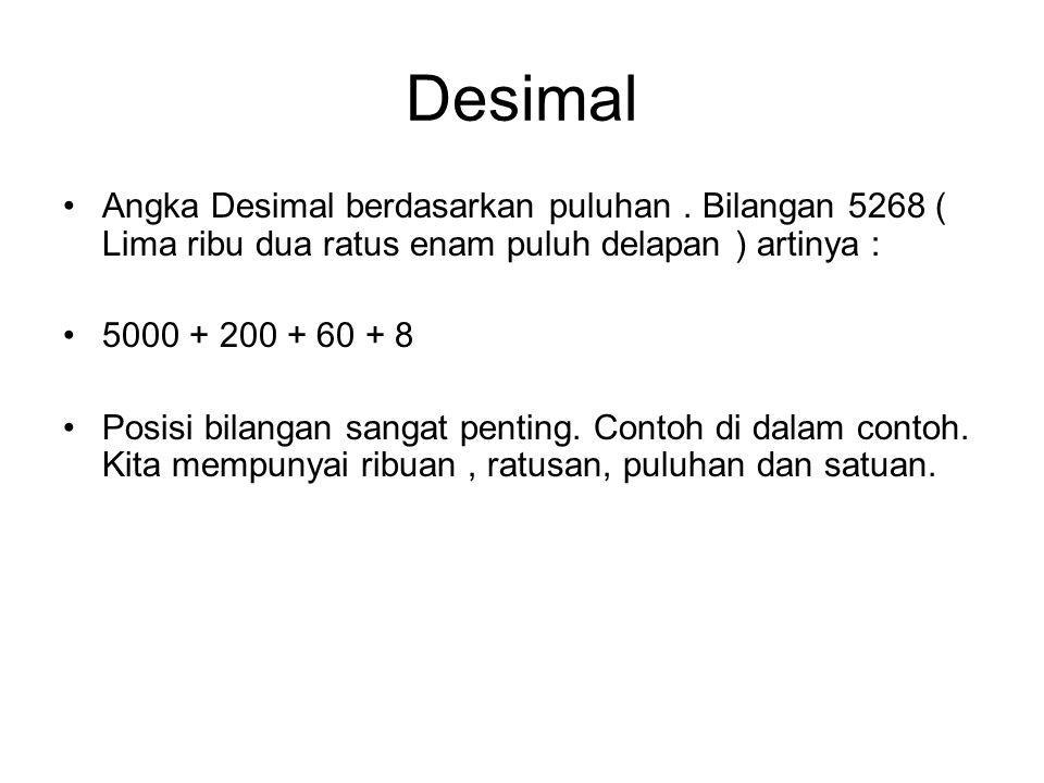Desimal Angka Desimal berdasarkan puluhan . Bilangan 5268 ( Lima ribu dua ratus enam puluh delapan ) artinya :