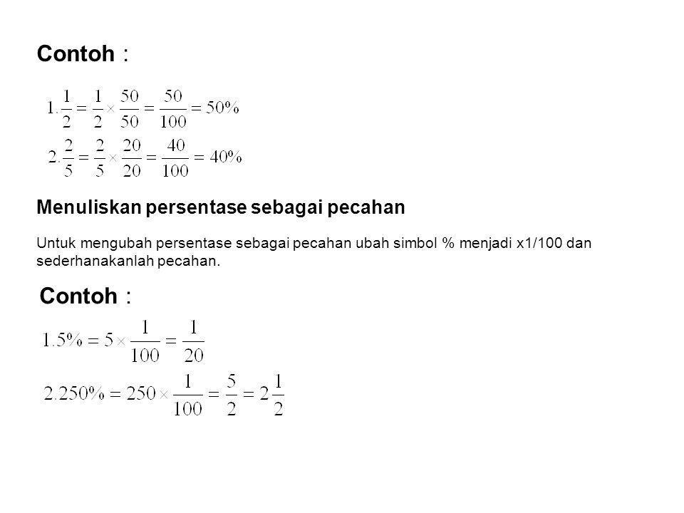 Contoh : Contoh : Menuliskan persentase sebagai pecahan
