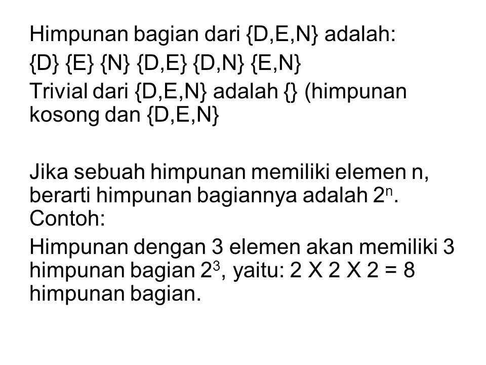 Himpunan bagian dari {D,E,N} adalah: {D} {E} {N} {D,E} {D,N} {E,N} Trivial dari {D,E,N} adalah {} (himpunan kosong dan {D,E,N} Jika sebuah himpunan memiliki elemen n, berarti himpunan bagiannya adalah 2n.