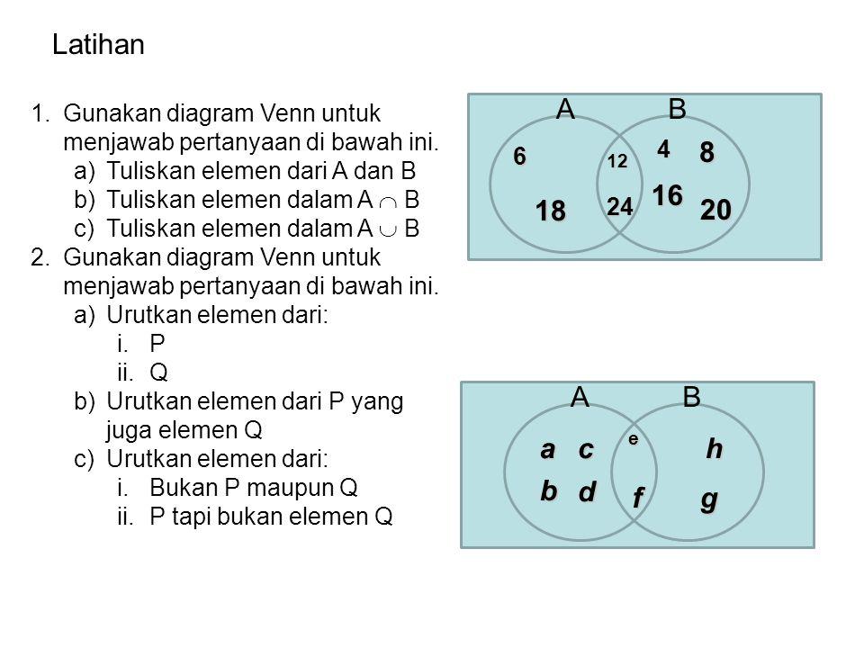Latihan Gunakan diagram Venn untuk menjawab pertanyaan di bawah ini. Tuliskan elemen dari A dan B.