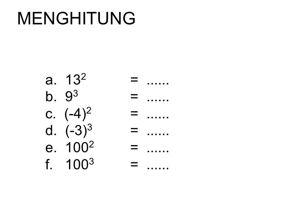 MENGHITUNG a. 132 = ...... b. 93 = ...... c. (-4)2 = ...... d. (-3)3 = ...... e. 1002 = ......