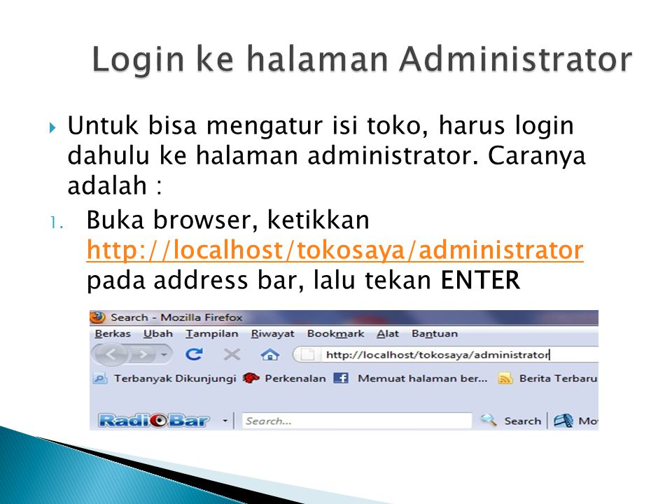 Login ke halaman Administrator