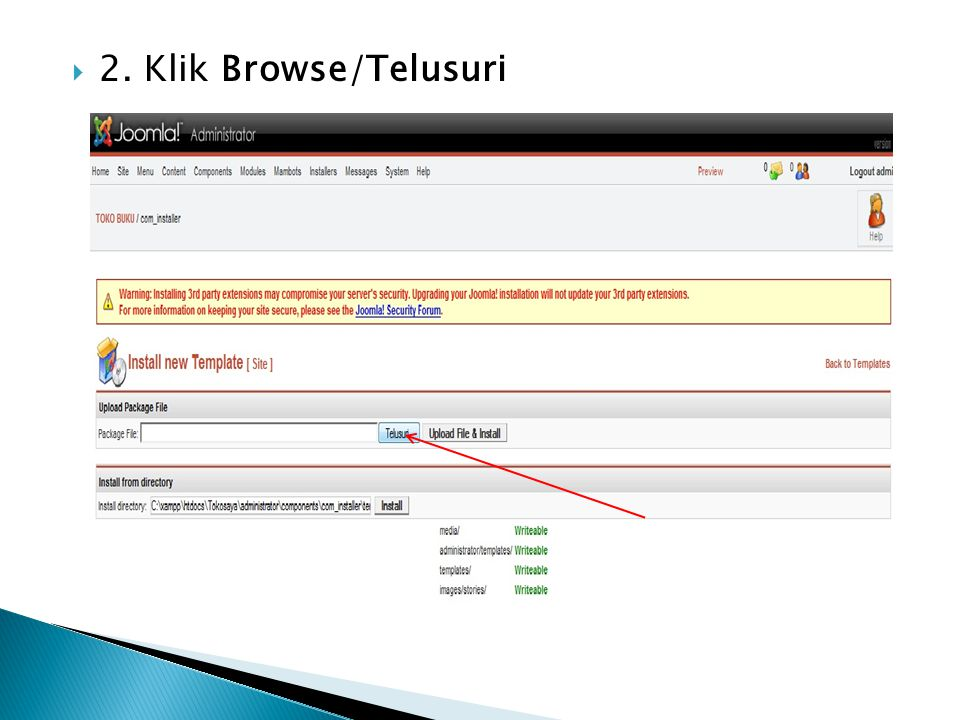 2. Klik Browse/Telusuri