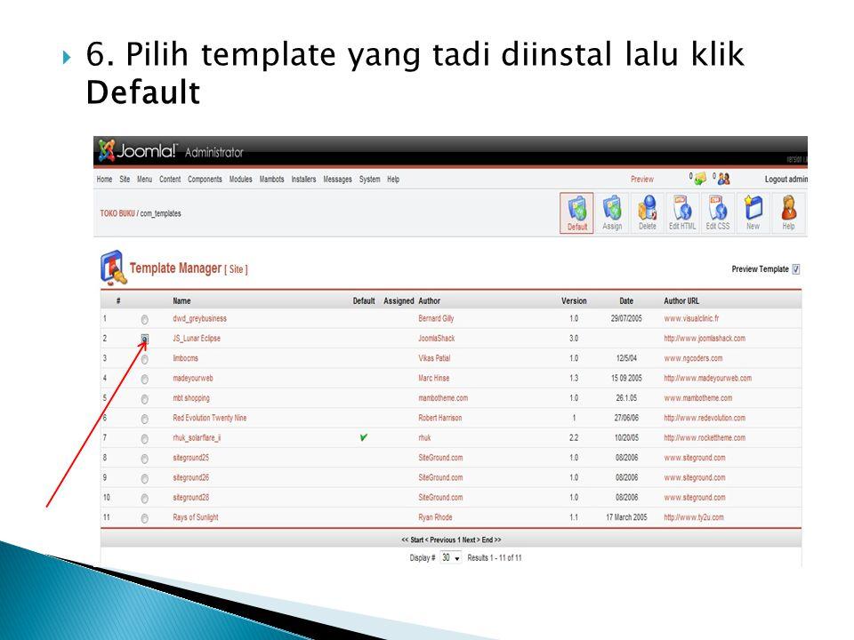 6. Pilih template yang tadi diinstal lalu klik Default