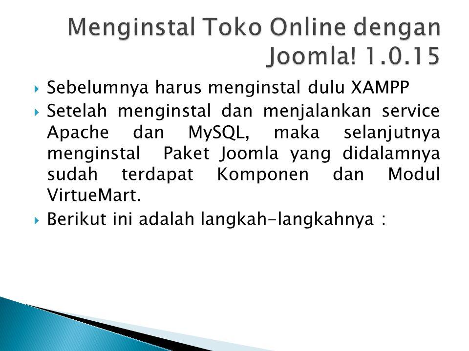 Menginstal Toko Online dengan Joomla! 1.0.15