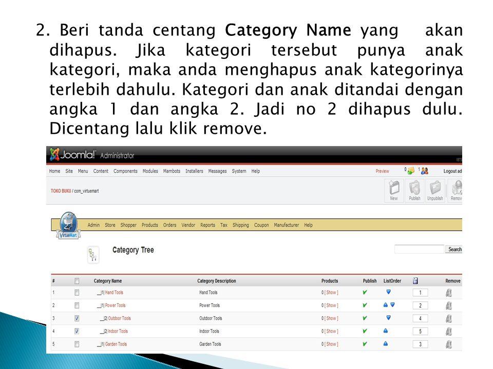2. Beri tanda centang Category Name yang akan dihapus