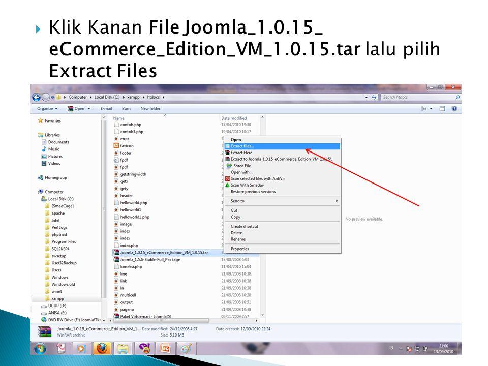 Klik Kanan File Joomla_1. 15_ eCommerce_Edition_VM_1. 15
