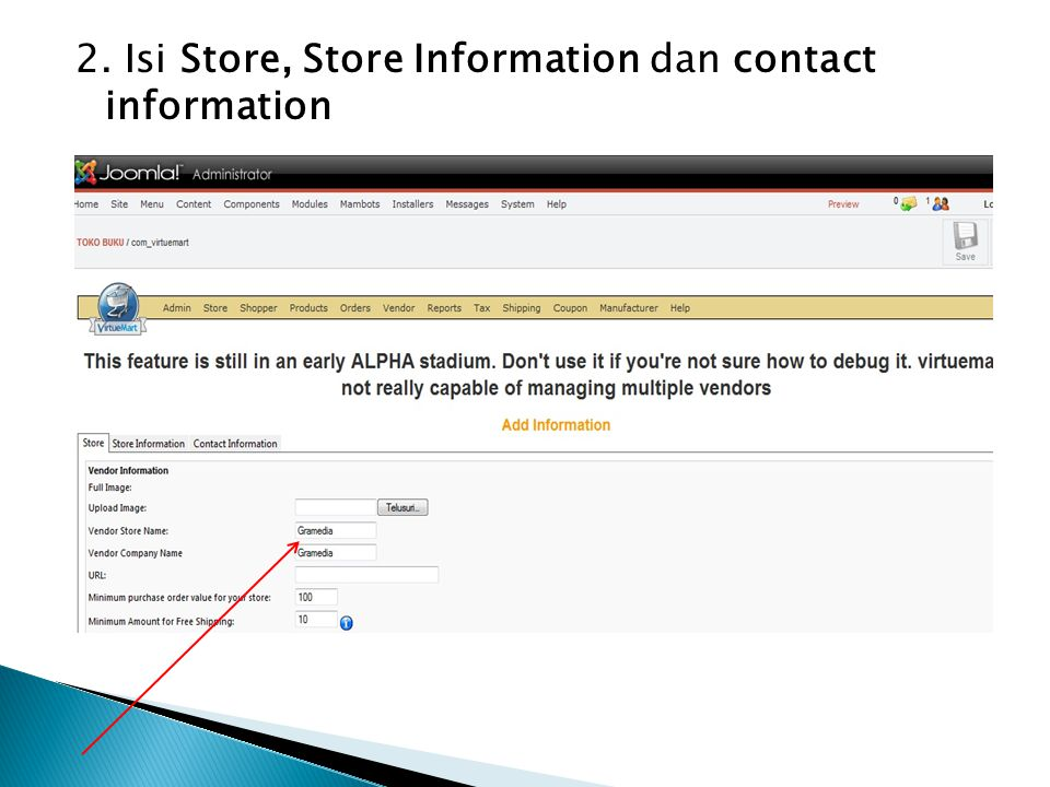 2. Isi Store, Store Information dan contact information