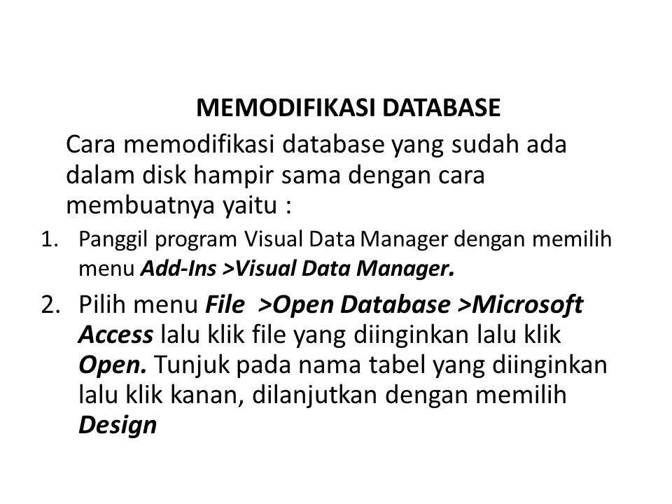 MEMODIFIKASI DATABASE