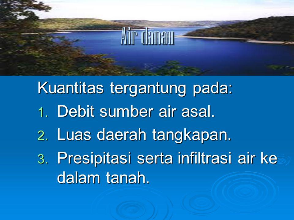 Air danau Kuantitas tergantung pada: Debit sumber air asal.