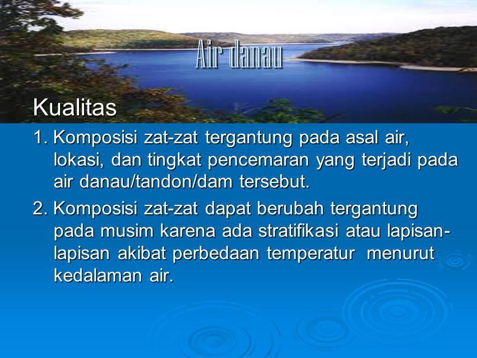 Air danau Kualitas. 1. Komposisi zat-zat tergantung pada asal air, lokasi, dan tingkat pencemaran yang terjadi pada air danau/tandon/dam tersebut.