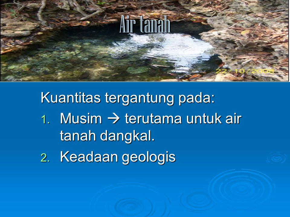 Air tanah Kuantitas tergantung pada: