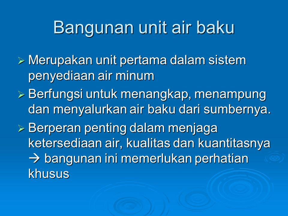 Bangunan unit air baku Merupakan unit pertama dalam sistem penyediaan air minum.
