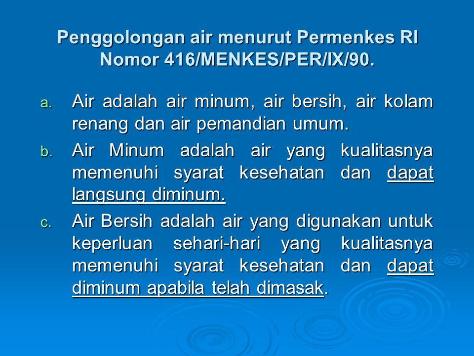 Penggolongan air menurut Permenkes RI Nomor 416/MENKES/PER/IX/90.