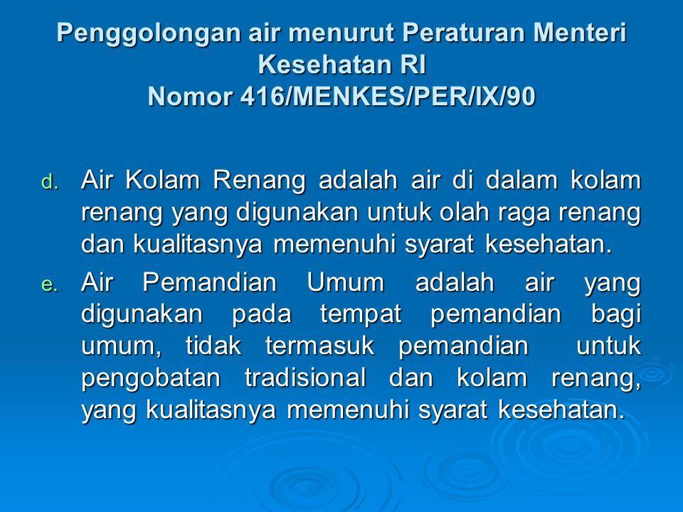 Penggolongan air menurut Peraturan Menteri Kesehatan RI Nomor 416/MENKES/PER/IX/90
