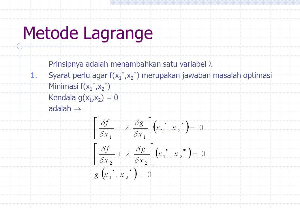 Metode Lagrange Prinsipnya adalah menambahkan satu variabel 