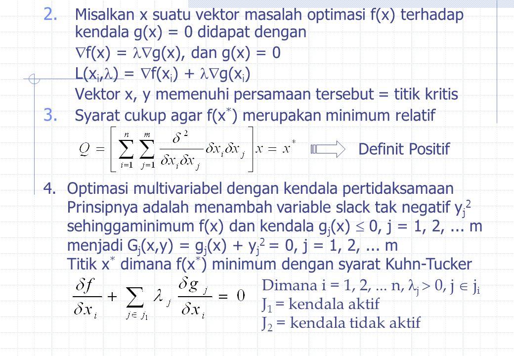 Misalkan x suatu vektor masalah optimasi f(x) terhadap kendala g(x) = 0 didapat dengan