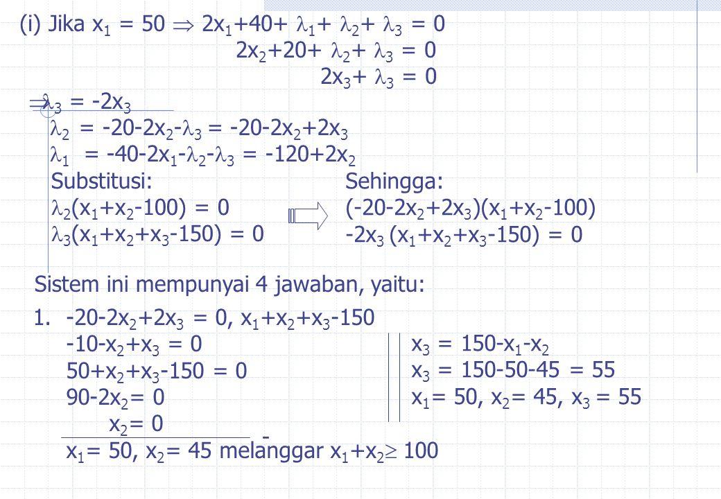 (i) Jika x1 = 50  2x1+40+ 1+ 2+ 3 = 0 2x2+20+ 2+ 3 = 0. 2x3+ 3 = 0. 3 = -2x3. 2 = -20-2x2-3 = -20-2x2+2x3.
