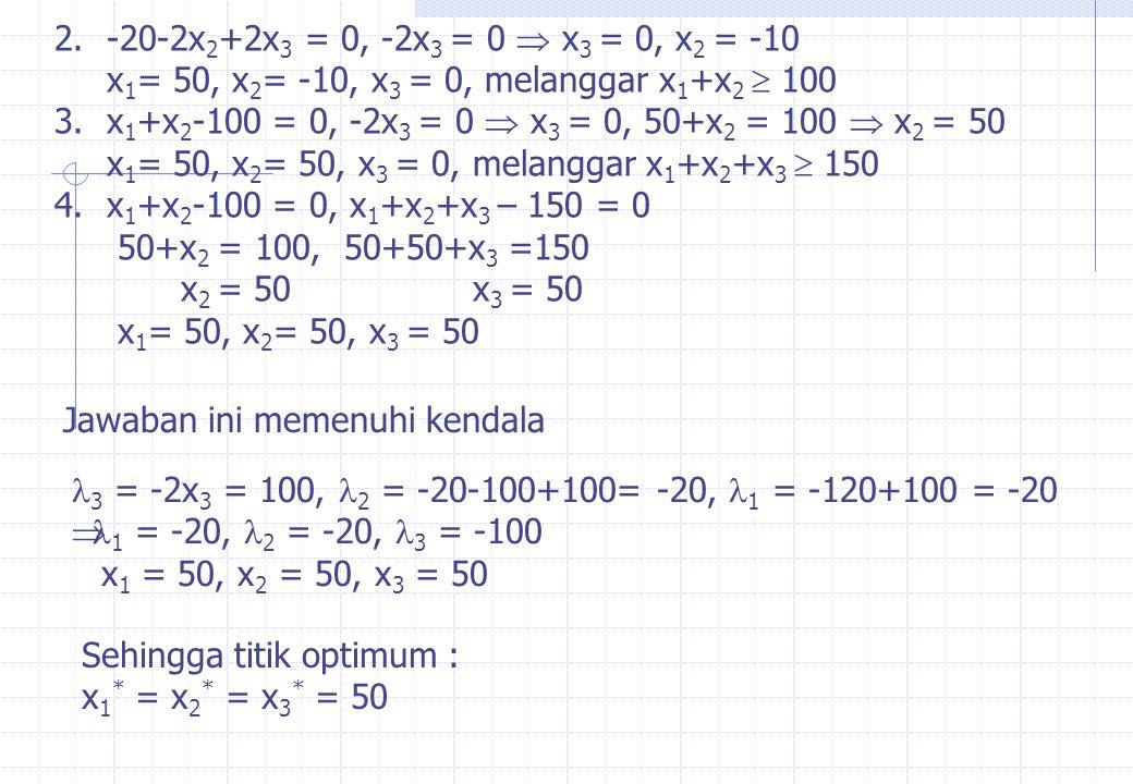 2. -20-2x2+2x3 = 0, -2x3 = 0  x3 = 0, x2 = -10 x1= 50, x2= -10, x3 = 0, melanggar x1+x2  100.