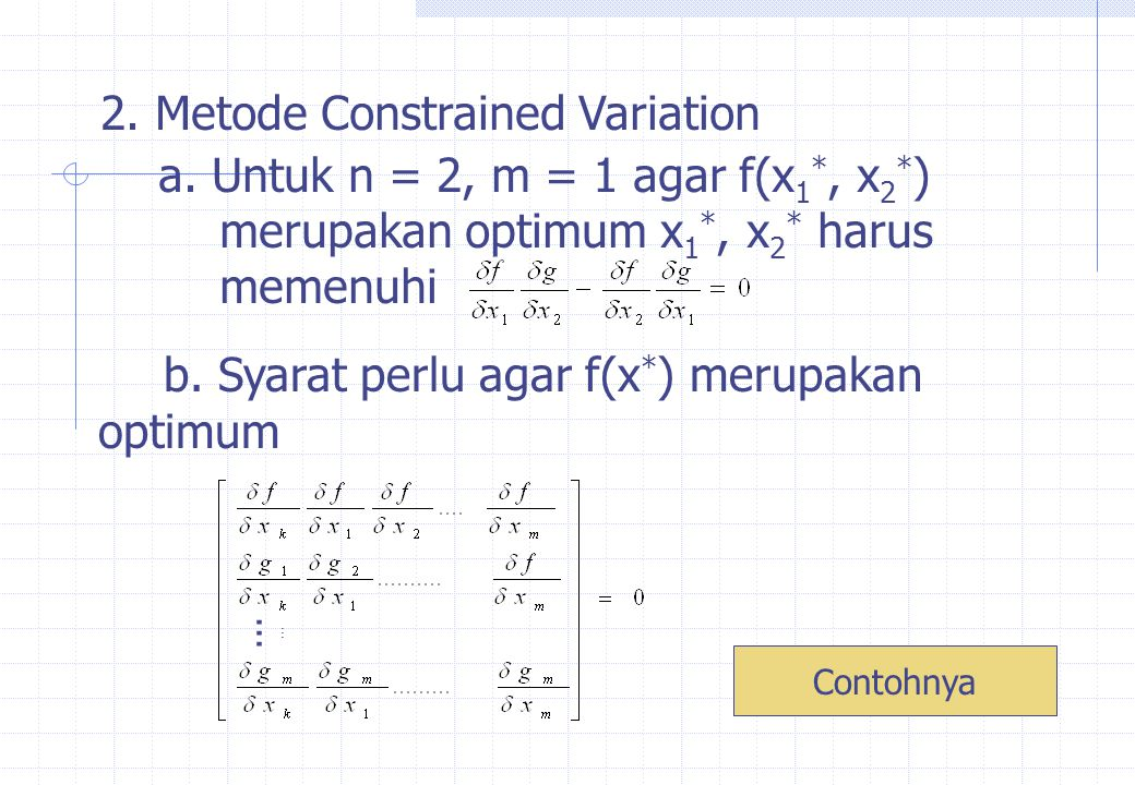2. Metode Constrained Variation