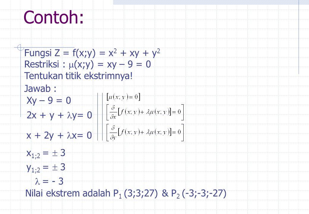 Contoh: Fungsi Z = f(x;y) = x2 + xy + y2