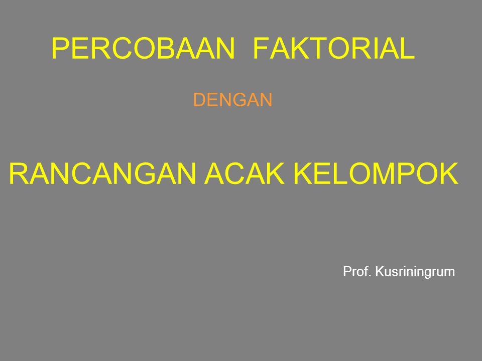 PERCOBAAN FAKTORIAL DENGAN RANCANGAN ACAK KELOMPOK Prof. Kusriningrum