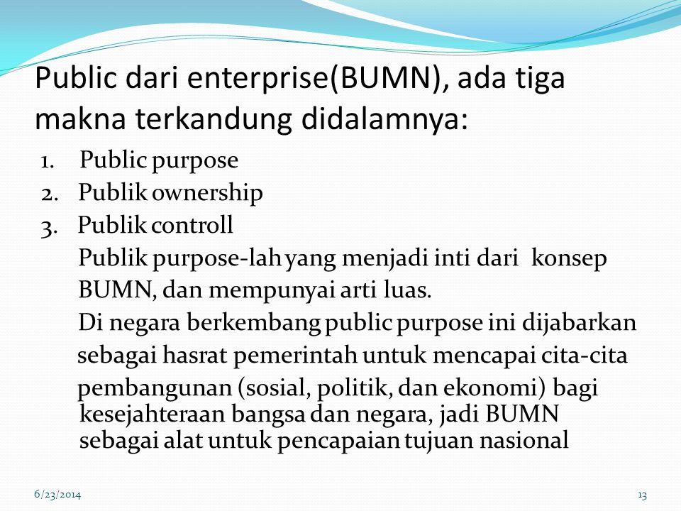 Public dari enterprise(BUMN), ada tiga makna terkandung didalamnya: