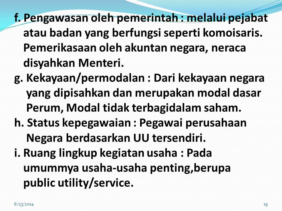 f. Pengawasan oleh pemerintah : melalui pejabat