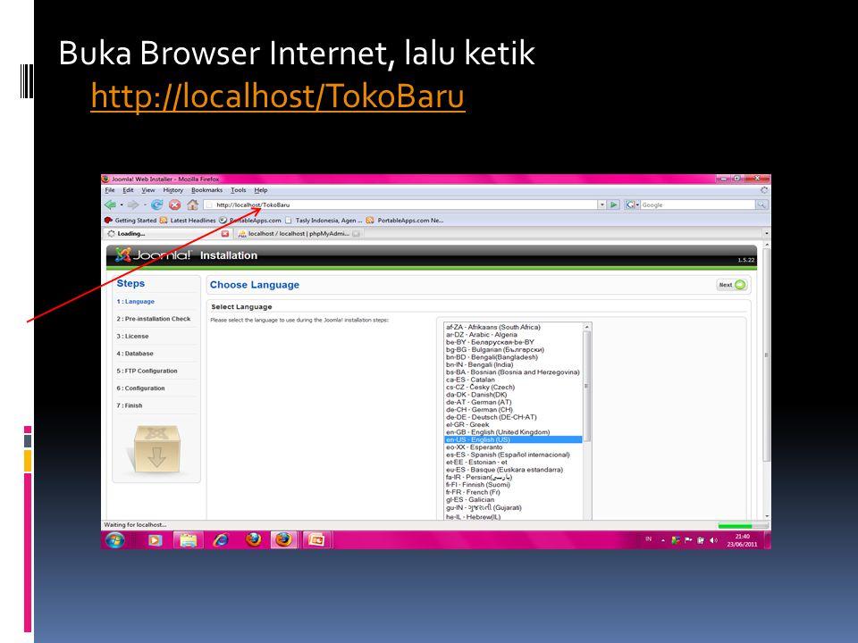 Buka Browser Internet, lalu ketik http://localhost/TokoBaru
