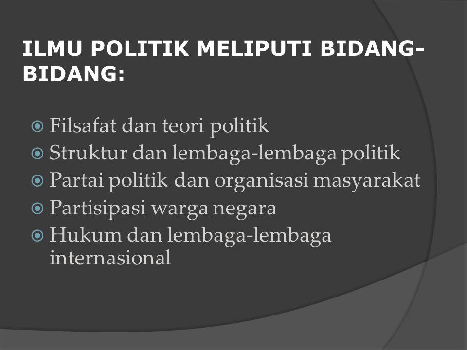 ILMU POLITIK MELIPUTI BIDANG-BIDANG: