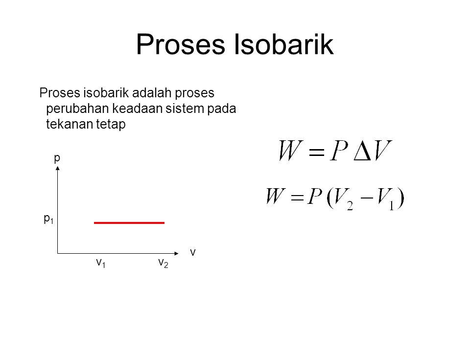 Proses Isobarik Proses isobarik adalah proses perubahan keadaan sistem pada tekanan tetap. v1. v.