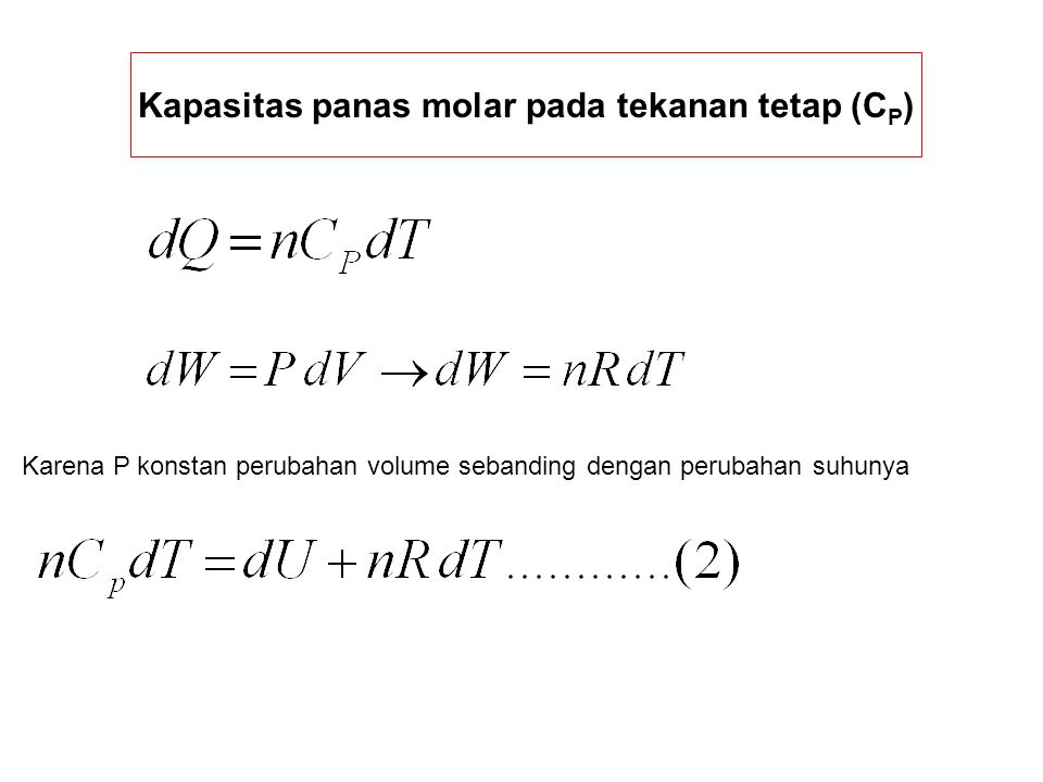 Kapasitas panas molar pada tekanan tetap (CP)