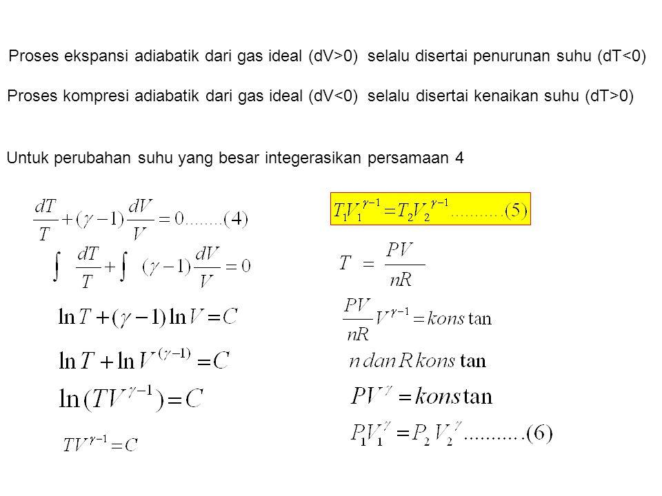 Untuk perubahan suhu yang besar integerasikan persamaan 4