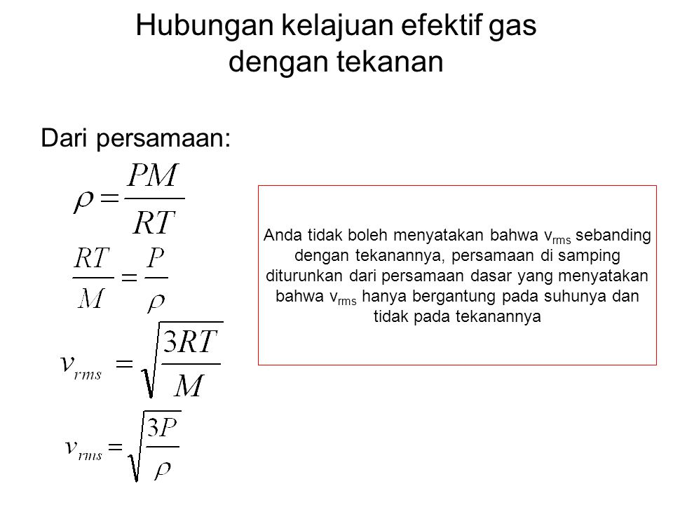 Hubungan kelajuan efektif gas dengan tekanan